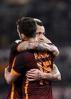 Calcio, Serie A: Roma vs Frosinone. Roma, stadio Olimpico, 30 gennaio 2016.<br /> Roma's Miralem Pjanic, left, celebrates with teammate Radja Nainggolan, after scoring during the Italian Serie A football match between Roma and Frosinone at Rome's Olympic stadium, 30 January 2016.<br /> UPDATE IMAGES PRESS/Isabella Bonotto