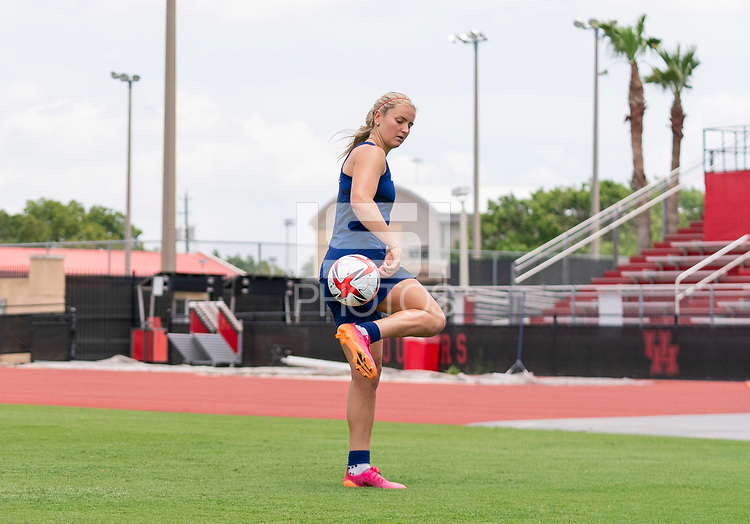 HOUSTON, TX - JUNE 8: Lindsey Horan #9 of the USWNT juggles the ball after a training session at the University of Houston on June 8, 2021 in Houston, Texas.