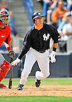 5 March 2011: New York Yankees' infielder Ramiro Pena in action during a Spring Training game against the Washington Nationals at George M. Steinbrenner Field in Tampa, Florida. The Nationals defeated the Yankees 10-8 in Grapefruit League action. Mandatory Credit: Ed Wolfstein Photo