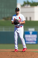 Surprise Saguaros relief pitcher Connor Jones (39), of the St. Louis Cardinals organization, gets ready to deliver a pitch during an Arizona Fall League game against the Peoria Javelinas at Surprise Stadium on October 17, 2018 in Surprise, Arizona. (Zachary Lucy/Four Seam Images)