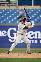 Frederick Keys second baseman Drew Turbin (15) at bat during the second game of a doubleheader against the Wilmington Blue Rocks on May 14, 2017 at Daniel S. Frawley Stadium in Wilmington, Delaware.  Wilmington defeated Frederick 3-1.  (Mike Janes/Four Seam Images)