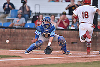 Burlington Royals catcher Nathan Esposito (7) waits for the throw as Joshua Lopez (18) approaches the plate during Game Two of the Appalachian League Championship series against the Johnson City Cardinals at TVA Credit Union Ballpark on September 7, 2016 in Johnson City, Tennessee. The Cardinals defeated the Royals 11-6 to win the league championship. (Tony Farlow/Four Seam Images)