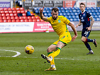 13th March 2021; Global Energy Stadium, Dingwall, Highland, Scotland; Scottish Premiership Football, Ross County versus Hibernian; Christian Doidge of Hibernian takes a shot at goal but goes high
