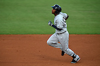 Tampa Yankees outfielder Ericson Leonora (20) runs to second during a game against the Lakeland Flying Tigers on April 9, 2015 at Joker Marchant Stadium in Lakeland, Florida.  Tampa defeated Lakeland 2-0.  (Mike Janes/Four Seam Images)
