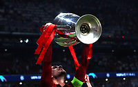 Liverpopol's captain Jordan Henderson celebrates with the trophy at the end of the UEFA Champions League final football match between Tottenham Hotspur and Liverpool at Madrid's Wanda Metropolitano Stadium, Spain, June 1, 2019. Liverpool won 2-0.<br /> UPDATE IMAGES PRESS/Isabella Bonotto