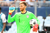 KANSAS CITY, KS - JULY 18: Matt Turner #1 of the United States during a game between Canada and USMNT at Children's Mercy Park on July 18, 2021 in Kansas City, Kansas.