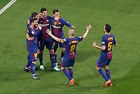 FC Barcelona's Luis Suarez, Philippe Coutinho, Sergi Roberto, Leo Messi, Andres Iniesta and Sergio Busquets celebrate goal during Spanish King's Cup Final match. April 21,2018.  *** Local Caption *** © pixathlon<br /> Contact: +49-40-22 63 02 60 , info@pixathlon.de