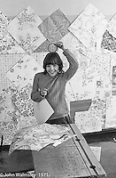 Decorating the walls with pages from a wallpaper catalogue, Scotland Road Free School, Liverpool  1971.  Also known as the Scotland Road or Scottie Road Free School it was founded and run by two teachers, John Ord and Bill Murphy (if I've got these names wrong, please tell me!) who worked with truanting kids and provided somewhere to go and things to do.  They begged and borrowed an old building, desks, books and an old ambulance for trips.
