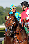 June 6, 2015: Victor Espinoza and American Pharoah (partially hidden by outrider's horse) are escorted back after winning the 147th running of the Grade I  Belmont Stakes and with it the Triple Crown at Belmont Park, Elmont, NY.  Joan Fairman Kanes/ESW/CSM