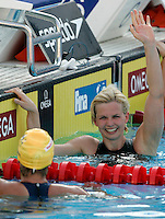 Germany's Britta Steffen celebrates after winning the gold medal in the Women's 100m Freestyle final at the Swimming World Championships in Rome, 31 July 2009..UPDATE IMAGES PRESS/Riccardo De Luca