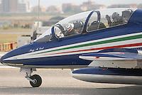 """- Italian Air Force, acrobatic national team """"Frecce Tricolori"""" on Aermacchi MB 339 airplanes<br /> <br /> - Aeronautica Militare Italiana, pattuglia acrobatica nazionale """"Frecce Tricolori"""" su aerei Aermacchi MB 339"""