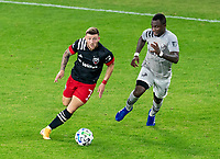 WASHINGTON, DC - NOVEMBER 8: Paul Arriola #7 of D.C. United dribbles during a game between Montreal Impact and D.C. United at Audi Field on November 8, 2020 in Washington, DC.