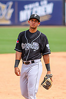 Lansing Lugnuts third baseman Yeltsin Guidino (31) during a Midwest League game against the Wisconsin Timber Rattlers on May 8, 2018 at Fox Cities Stadium in Appleton, Wisconsin. Lansing defeated Wisconsin 11-4. (Brad Krause/Four Seam Images)