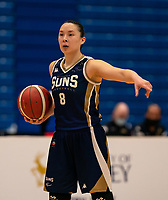 Renee Busch of Sevenoaks Suns during the WBBL Championship match between Sevenoaks Suns and Newcastle Eagles at Surrey Sports Park, Guildford, England on 20 March 2021. Photo by Liam McAvoy