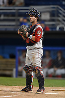 Brooklyn Cyclones catcher Tomas Nido (7) during a game against the Batavia Muckdogs on August 11, 2014 at Dwyer Stadium in Batavia, New York.  Batavia defeated Brooklyn 4-3.  (Mike Janes/Four Seam Images)