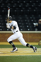 Patrick Frick (5) of the Wake Forest Demon Deacons follows through on his swing against the Florida State Seminoles at David F. Couch Ballpark on March 9, 2018 in  Winston-Salem, North Carolina.  The Seminoles defeated the Demon Deacons 7-3.  (Brian Westerholt/Four Seam Images)