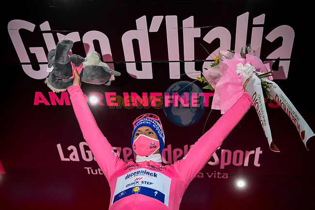 Race leader Joao Almeida (POR) Deceuninck-Quick Step retains the Maglia Rosa at the end of Stage 12 of the 103rd edition of the Giro d'Italia 2020 running 204km from Cesenatico to Cesenatico, Italy. 15th October 2020.  <br /> Picture: LaPresse/Marco Alpozzi | Cyclefile<br /> <br /> All photos usage must carry mandatory copyright credit (© Cyclefile | LaPresse/Marco Alpozzi)