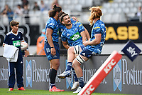 14th March 2021; Eden Park, Auckland, New Zealand;  Otere Black and Sam Darry celebrate their win, Blues v Highlanders, Super Rugby Aotearoa. Eden Park, Auckland. New Zealand. Sunday 14 March 2021.