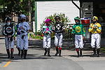 July 25, 2020: Jockeys before race 5 on Alfred G Vanderbilt  Day at Saratoga Race Course in Saratoga Springs, New York. Rob Simmons/Eclipse Sportswire/CSM