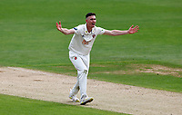Nathan Gilchrist of Kent takes the wicket of Harrison Ward LBW during Kent CCC vs Sussex CCC, LV Insurance County Championship Group 3 Cricket at The Spitfire Ground on 11th July 2021