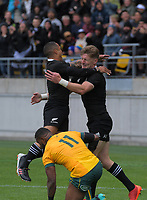 Aaron Smith congratulates Jordie Barrett on his try during the Bledisloe Cup rugby union match between the New Zealand All Blacks and Australia Wallabies at Sky Stadium in Wellington, New Zealand on Sunday, 11 October 2020. Photo: Dave Lintott / lintottphoto.co.nz