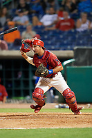 Clearwater Threshers catcher Edgar Cabral (30) during a game against the Dunedin Blue Jays on April 6, 2018 at Spectrum Field in Clearwater, Florida.  Clearwater defeated Dunedin 8-0.  (Mike Janes/Four Seam Images)