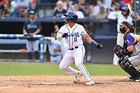 Asheville Tourists JC Correa (11) swings at a pitch during a game against the Winston-Salem Dash on August 6, 2021 at McCormick Field in Asheville, NC. (Tony Farlow/Four Seam Images)