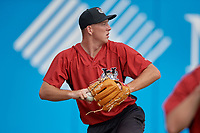 Tri-City ValleyCats pitcher Ryan Gusto (33) during warmups before a NY-Penn League game against the Brooklyn Cyclones on August 17, 2019 at MCU Park in Brooklyn, New York.  The game was postponed due to inclement weather, Brooklyn defeated Tri-City 2-1 in the continuation of the game on August 18th.  (Mike Janes/Four Seam Images)
