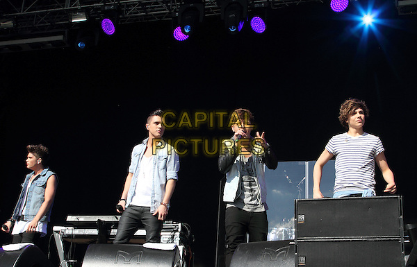 Josh Cuthbert, JJ Hamblet, Jaymi Hensley and George Shelley of Union J.'As One in the Park' London's new Gay and Lesbian Festival, Victoria Park, London, England..May 26th 2013.on stage in concert live gig performance performing music full length jean denim sleeveless jacket singing jeans denim band group.CAP/ROS.©Steve Ross/Capital Pictures.