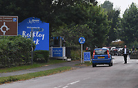 BNPS.co.uk (01202) 558833.<br /> Pic: BNPS<br /> <br /> Pictured:  The entrance to Rockley Park. <br /> <br /> There are fresh calls for a holiday park to increase safety measures at a notorious beach where one swimmer has drowned and almost 20 children rescued this summer. <br /> <br /> In the latest incident a dad and his two young sons were plucked to safety in the nick of time after they were swept away by a rip tide at Rockley Park in Poole Harbour, Dorset.<br /> <br /> It happened a month after hero swimmer Callum Baker-Osborne, 18, drowned while helping to rescue 13 children at the same spot.<br /> <br /> And before that two young girls were saved from drowning by a paddleboarder.