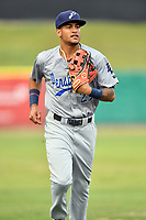 Pensacola Blue Wahoos center fielder Jose Siri (22) during a game against the Tennessee Smokies at Smokies Stadium on August 30, 2018 in Kodak, Tennessee. The Blue Wahoos defeated the Smokies 5-1. (Tony Farlow/Four Seam Images)