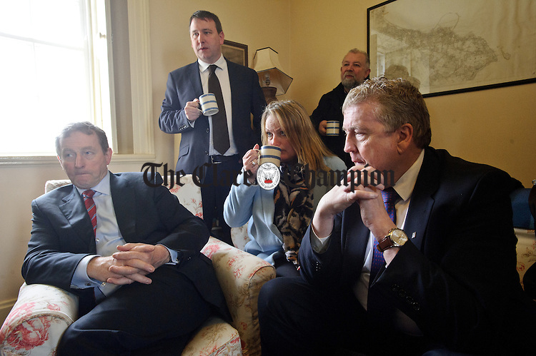 Enda Kenny, Taoiseach, is interviewed for local media during his visit to Loop Head to launch the Fine Gael tourism initiative. Looking on are Clare candidates Councillor Mary Howard, Joe Carey, TD and Pat Breen, TD and councillor John Crowe. Photograph by John Kelly.
