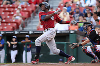 Lehigh Valley IronPigs outfielder John Mayberry during a game vs. the Buffalo Bisons at Coca-Cola Field in Buffalo, New York;  August 1, 2010.  Buffalo defeated Lehigh Valley 2-1 in 10 innings.  Photo By Mike Janes/Four Seam Images
