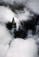 New York: Woolworth Building in Clouds. Historical photo. Reference only.