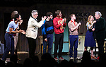 """Michael Hsu Rosen, Mercedes Ruehl, Moises Kaufman, Michael Urie, Ward Horton, Jack DiFalco, Harvey Fierstein and Roxanna Hope Radja during the Broadway Opening Night Curtain Call for """"Torch Song"""" at the Hayes Theater on November 1, 2018 in New York City."""