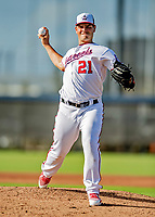 23 February 2019: Washington Nationals pitcher Tanner Raine on the mound prior to a Spring Training game against the Houston Astros at the Ballpark of the Palm Beaches in West Palm Beach, Florida. The Nationals walked off with a 7-6 Opening Game win to start the Grapefruit League season. Mandatory Credit: Ed Wolfstein Photo *** RAW (NEF) Image File Available ***