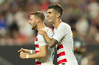CLEVELAND, OHIO - JUNE 22: Paul Arriola, Christian Pulisic during a 2019 CONCACAF Gold Cup group D match between the United States and Trinidad & Tobago at FirstEnergy Stadium on June 22, 2019 in Cleveland, Ohio.