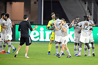WASHINGTON, DC - NOVEMBER 8: Samuel Piette #6 of Montreal Impact celebrating the victory with teammates after a game between Montreal Impact and D.C. United at Audi Field on November 8, 2020 in Washington, DC.