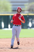 Zach Wright #5 of the Los Angeles Angels runs the bases during a Minor League Spring Training Game against the Oakland Athletics at the Los Angeles Angels Spring Training Complex on March 17, 2014 in Tempe, Arizona. (Larry Goren/Four Seam Images)