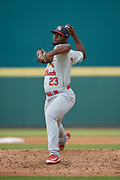 Palm Beach Cardinals relief pitcher Ramon Santos (23) during a Florida State League game against the Bradenton Marauders on May 10, 2019 at LECOM Park in Bradenton, Florida.  Bradenton defeated Palm Beach 5-1.  (Mike Janes/Four Seam Images)