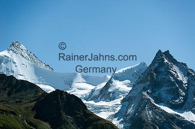 Switzerland, Canton Valais, Val d'Anniviers, near Zinal: right summit Besso, 3.668 m; left summit Zinalrothorn, 4.221 m and the Moming Glacier (Glacier de Moming) in the Valais Alps | Schweiz, Kanton Wallis, Val d'Anniviers, bei Zinal: rechts der Besso, 3.668 m; links das Zinalrothorn, 4.221 m und der Mominggletscher (Glacier de Moming)  in den Walliser Alpen