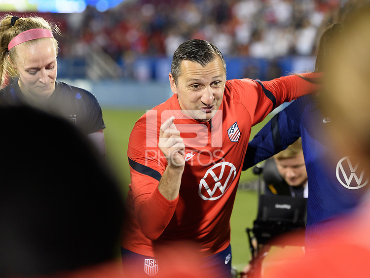 FRISCO, TX - MARCH 11: USWNT Head Coach, Vlatko Andonovski talks to his team after their win against Japan during a game between Japan and USWNT at Toyota Stadium on March 11, 2020 in Frisco, Texas.
