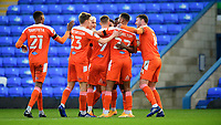 Blackpool's Jerry Yates, centre, celebrates scoring the opening goal<br /> <br /> Photographer Chris Vaughan/CameraSport<br /> <br /> The EFL Sky Bet League One - Peterborough United v Blackpool - Saturday 21st November 2020 - London Road Stadium - Peterborough<br /> <br /> World Copyright © 2020 CameraSport. All rights reserved. 43 Linden Ave. Countesthorpe. Leicester. England. LE8 5PG - Tel: +44 (0) 116 277 4147 - admin@camerasport.com - www.camerasport.com