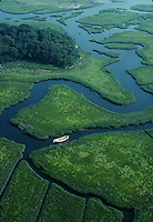 marsh aerial with rowboat, Cohasset, MA