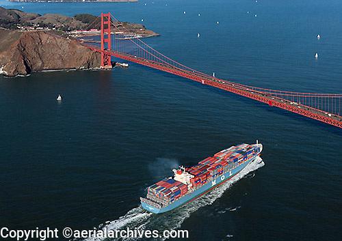 aerial photograph containership approaching Golden Gate bridge, San Francisco, California