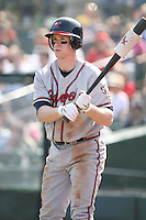 April 17th, 2008:  Outfielder Josh Anderson (8) of the Richmond Braves, Class-AAA affiliate of the Atlanta Braves, on deck during a game at Frontier Field in Rochester, NY.  Photo by:  Mike Janes/Four Seam Images