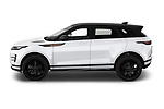 Car Driver side profile view of a 2019 Land Rover Range-Rover-Evoque Dynamic 5 Door SUV Side View