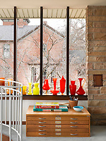 The window sill is the perfect place to display a collection of Murano glass.