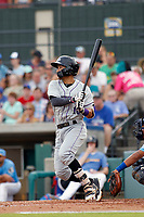 Winston-Salem Dash shortstop Laz Rivera (16) at bat during a game against the Myrtle Beach Pelicans at Ticketreturn.com Field at Pelicans Ballpark on July 22, 2018 in Myrtle Beach, South Carolina. Winston-Salem defeated Myrtle Beach 7-2. (Robert Gurganus/Four Seam Images)