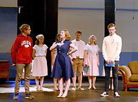 Marc Hayot/Herald Leader. Nathan Blair (left), Sierra Horner, Kate Kelley, Isabelle Pennick, Reece Edwards, Lindsey Bolstad, and Clayton Hoskins rehearse a scene from The Sound of Music where Maria announces that the family is a family of performers.